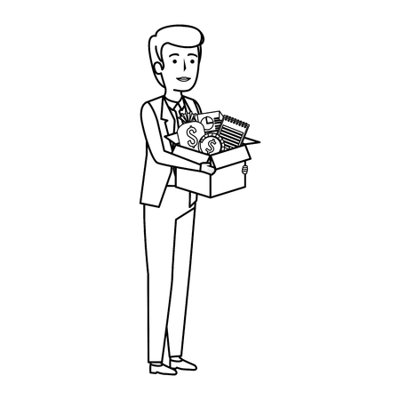 young businessman with box business items vector illustration design