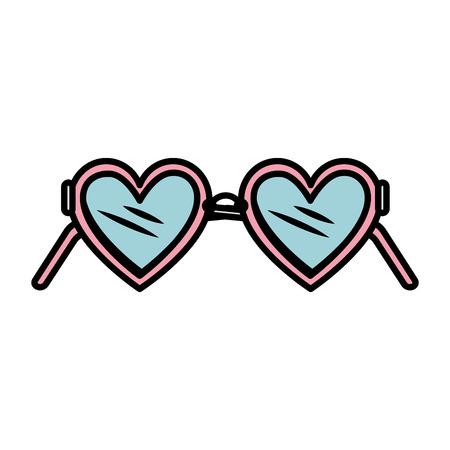 heart glasses fashion icon vector illustration design