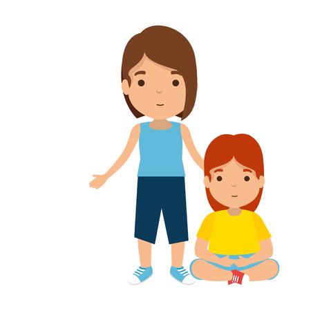 madre con personaggi figlia illustrazione vettoriale design Vettoriali