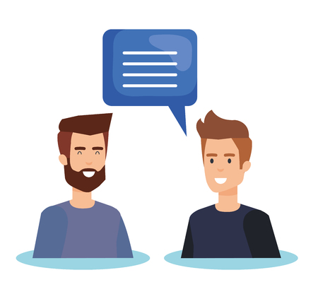 couple men talking characters vector illustration design