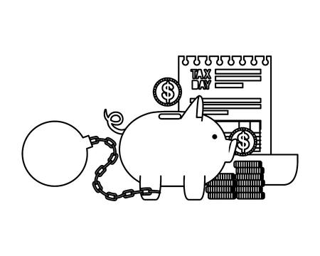 tax day business icons vector illustartion design Stock Illustratie