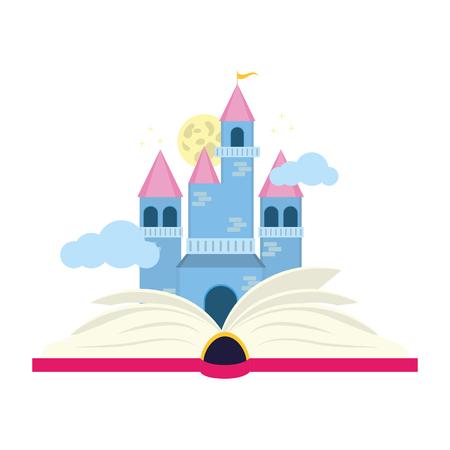 Illustration vectorielle de la journée mondiale du livre du château de fées de manuels