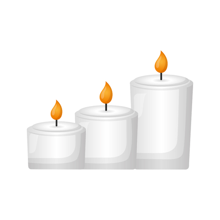 burning candles decoration on white background vector illustration Фото со стока - 123351220