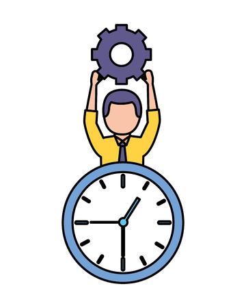 businessman holding gear clock time work vector illustration Archivio Fotografico - 123351225