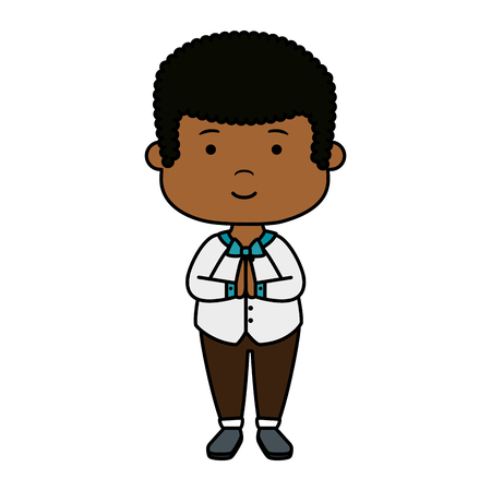 little black boy first communion character vector illustration design
