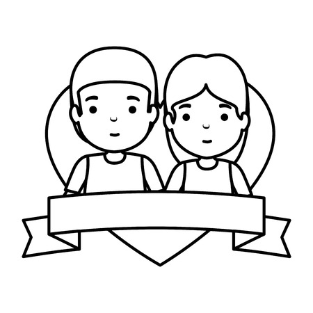 young couple in heart avatars characters vector illustration design