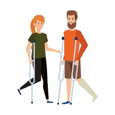 couple in crutches characters vector illustration design Ilustração