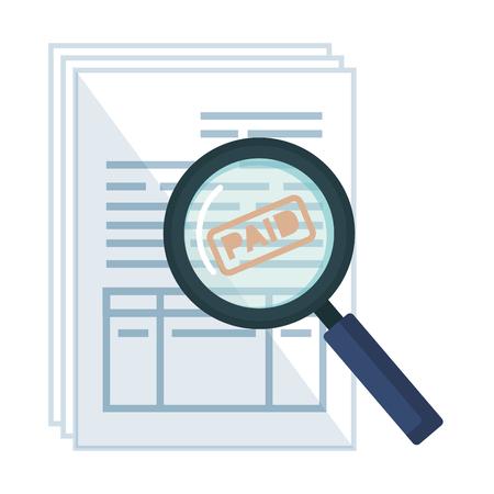 tax documents with magnifying glass vector illustartion design Foto de archivo - 123351271