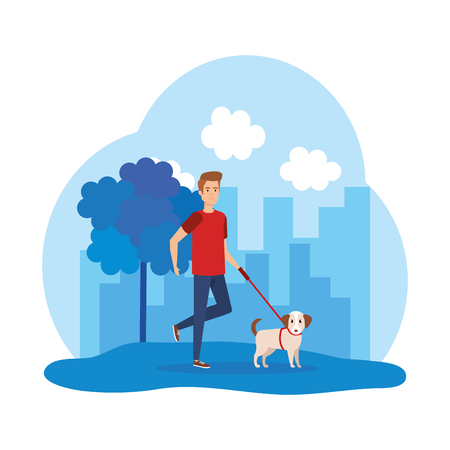 young man walking with dog vector illustration design Ilustrace