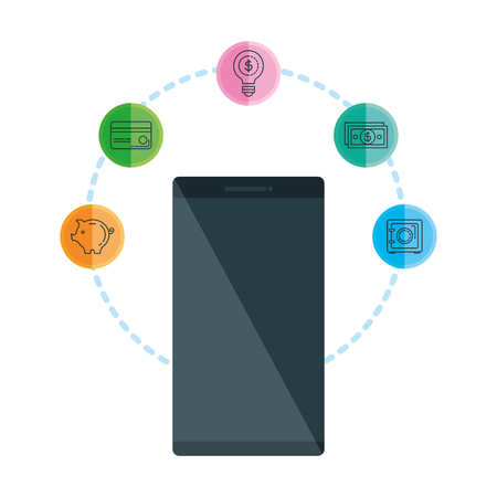 smartphone with business icons vector illustration design