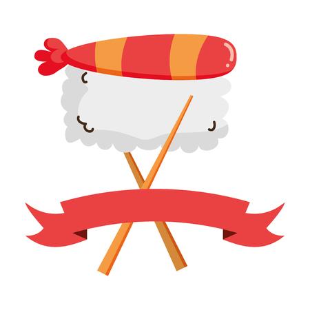 sushi fish food sticks ribbon vector illustration