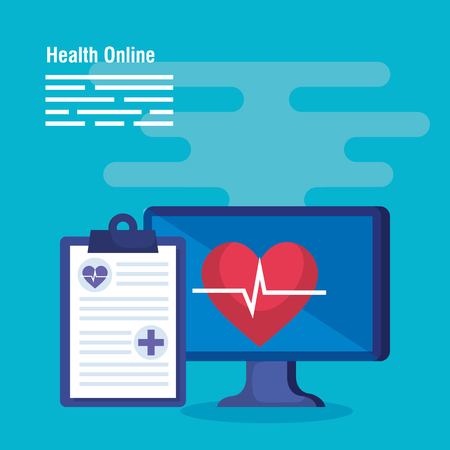 medical computer technology with heartbeat and diagnosis vector illustration