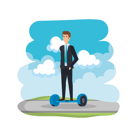 businessman in hoverboard electric on road vector illustration design