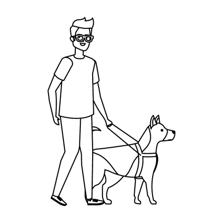 blind man with guide dog vector illustration design