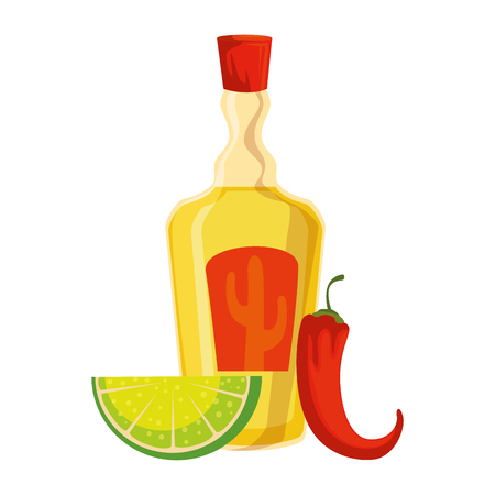 tequila bottle with lemon and chili pepper vector illustration design