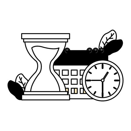 work calendar clock time hourglass vector illustration Stock Illustratie