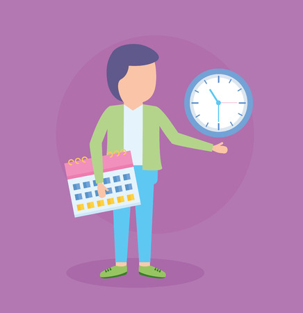 businessman clock time and calendar vector illustration