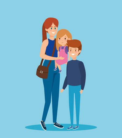 happy woman carrying her daughter and son vector illustration