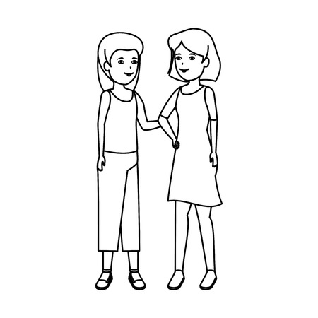 girls couple avatars characters vector illustration design