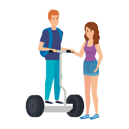 young couple in folding e-scooter vector illustration design Banque d'images - 123351435