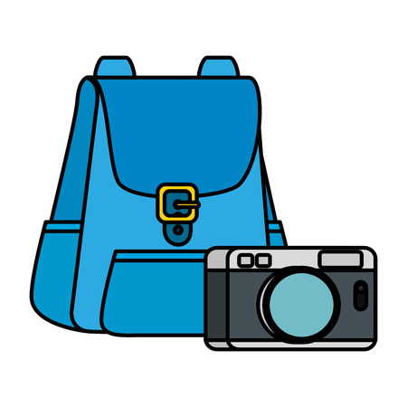 travel bag tourism with camera vector illustration design