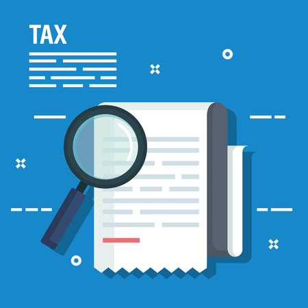service tax report with magnifying glass vector illustration