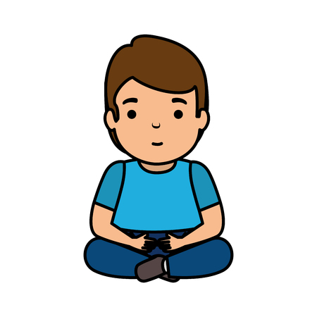 young man seated avatar character vector illustration design Illustration