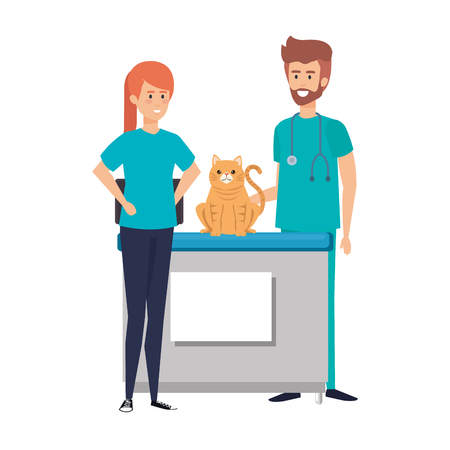 male veterinary doctor with cat and owner vector illustration design Ilustrace