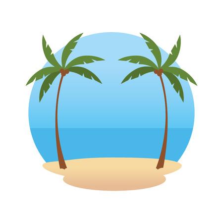 beach landscape scene icon vector illustration design