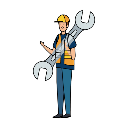 builder worker with helmet and wrench vector illustration design Ilustrace