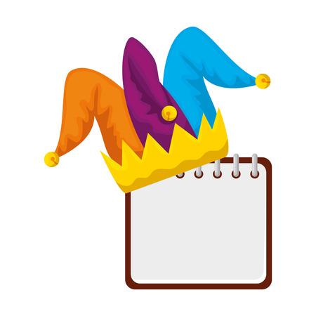 jester hat fools day with calendar vector illustration design