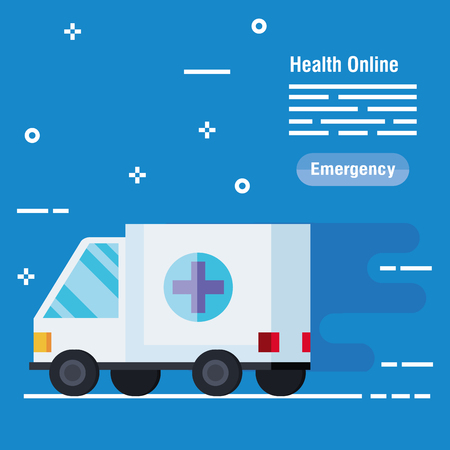 medical ambulance service to emergency diagnosis vector illustration  イラスト・ベクター素材