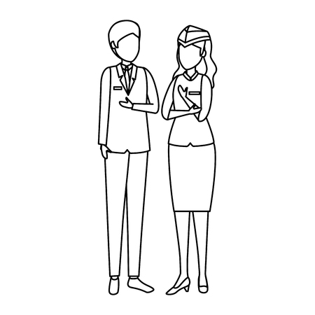 flight attendants couple avatars characters vector illustration design