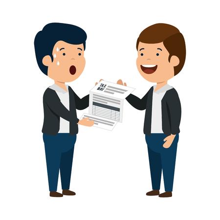 depressed men for money with tax document vector illustration design Stok Fotoğraf - 121067060