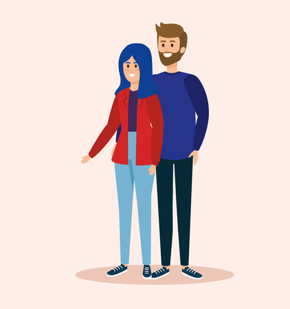 girland boy couple together with hairstyle vector illustration