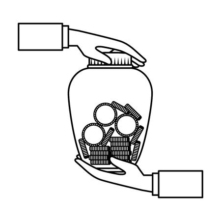 hands lifting mason jar with coins vector illustration design