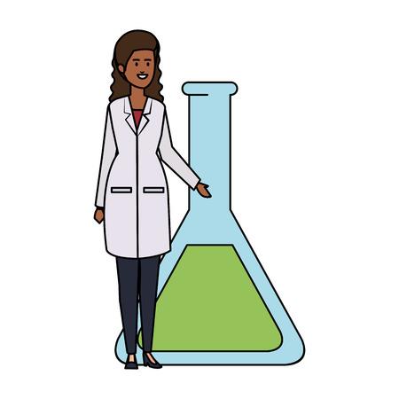 professional black female doctor with tube test vector illustration design