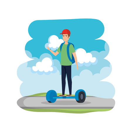 young man in hoverboard electric on road vector illustration design Ilustrace