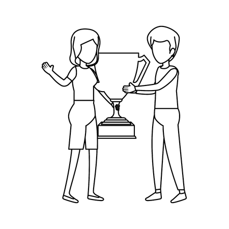 couple with trophy cup award vector illustration design Stockfoto - 123351656