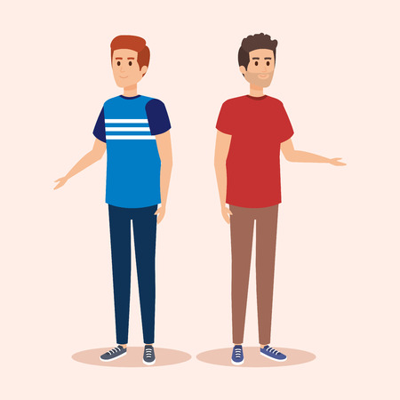 cute boys friends with hairstyle and clothes vector illustration Ilustrace