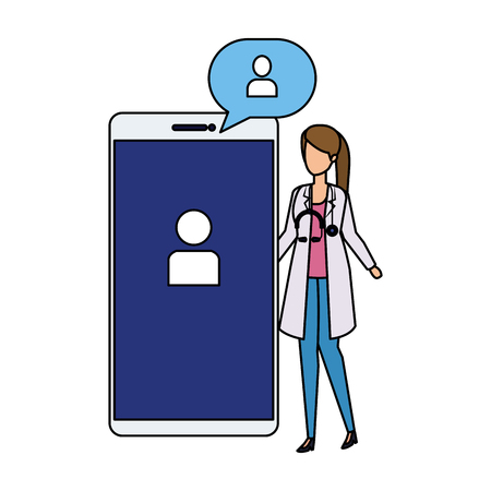female doctor with smartphone and speech bubble vector illustration design