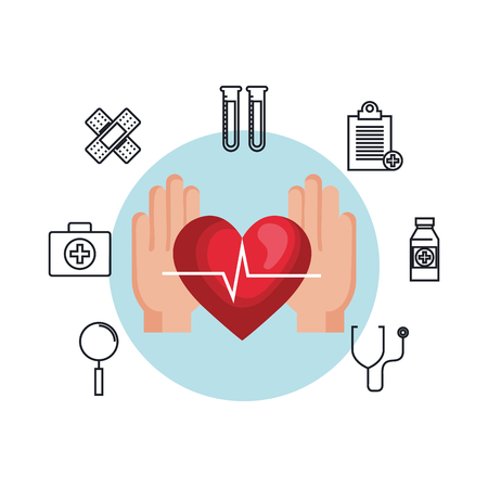 hands with heart cardio and set icons vector illustration design
