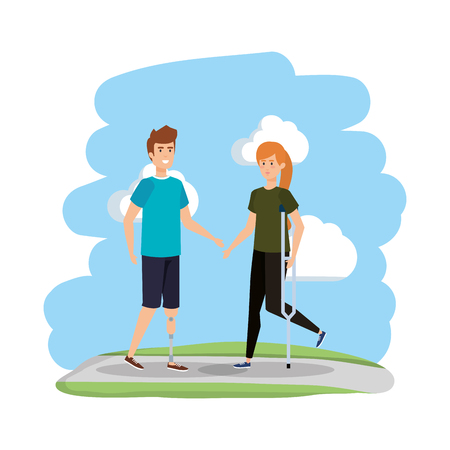 woman in crutch and man with prosthesis vector illustration design Illustration