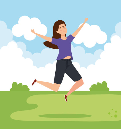 happy woman jumping with casual clothes vector illustration  イラスト・ベクター素材