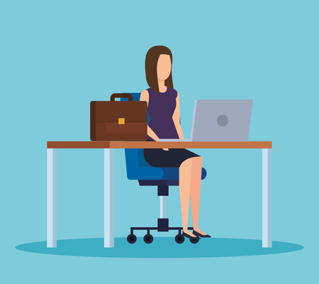 elegant businesswoman professional with computer in the desk vector illustration