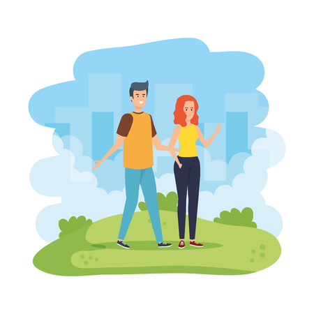 young couple in the field vector illustration design