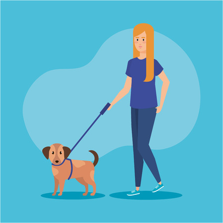 young woman walking with dog vector illustration design Illustration