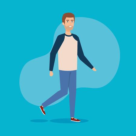 young man walking character vector illustration design
