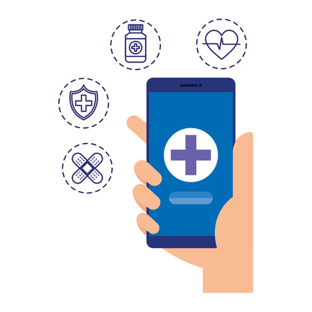 hand using smartphone with telemedicine icons vector illustration design Stock Illustratie