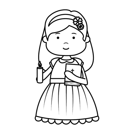 little girl with holy bible first communion character vector illustration design Banco de Imagens - 121096358